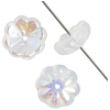 Glass Bead Flower 11mm Strung Center Hole Crystal Aurora Borealis